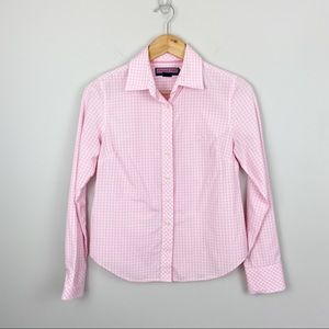 Vineyard Vines Pink and White Plaid Button Up (S)